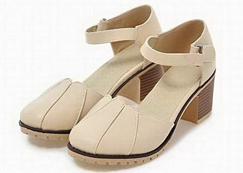 Beige Unie Sandales Velcro Correct Couleur Talon GMBLB015315 PU Cuir à Femme AgooLar PqXgHH