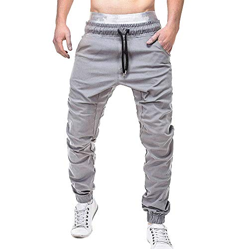- iTLOTL Men Sweatpants Slacks Casual Elastic Joggings Sport Solid Baggy Pockets Trousers(Gray,L)