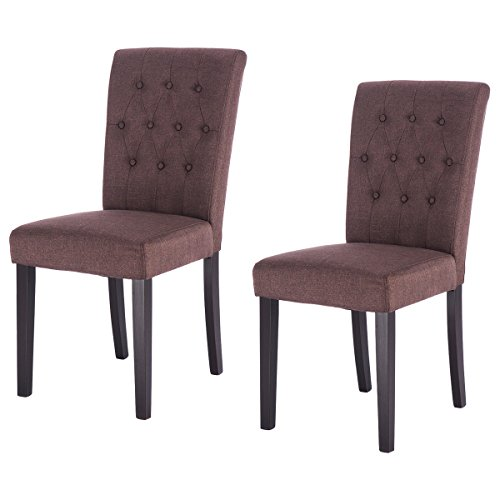 Giantex Set of 2 Fabric Dining Chair Armless Chair Home Kitchen Living Room Furniture (Brown)