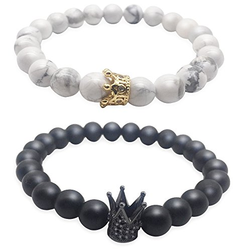 Leune Accessories | King and Queen Bracelets for Couples His and Hers Gifts Valentines Day Gifts for Him and Her | 8mm High Concentrate Natural Stone Beads