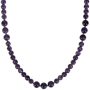 """8mm and 10mm Amethyst Bead Necklace, 36"""""""