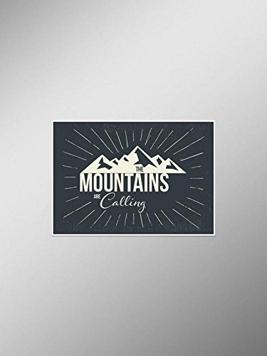 (The Mountains are Calling Vinyl Decal Sticker Explore Hike Camp Car Window Bumper 5.5-Inches by 1.75-Inches Premium Quality UV Resistant Laminate JMM037)