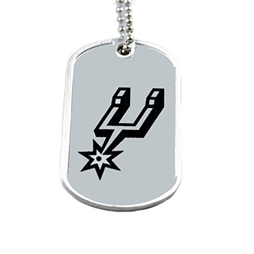 aminco San Antonio Spurs Dog Tag Domed Necklace Charm Chain Nba