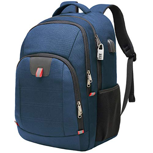 Travel Laptop Backpack,Extra Large Anti Theft College School Backpack for Men and Women with USB Charging Port,Water Resistant Big Business Computer Backpack Bag Fit 17 Inch Laptop and Notebook,Blue