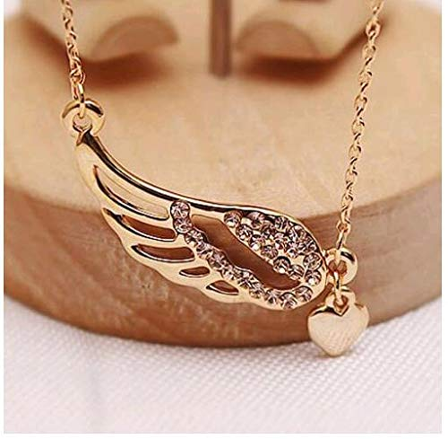 Aimys 18MM Snap Button Angel Wings Heart Charm Pendant for DIY Jewelry Religious Jewelry Textured 14k Yellow Gold Angel Wing Charm Mosaic Crystal Pendant Necklace ()