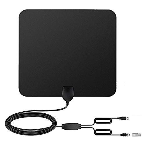 80 Miles Range Digital HD TV Antenna, Indoor HDTV High Defination Freeview TV Reception TV Antenna with Built-in Amplifier Signal Booster, 13 Feet Coax Cable Black