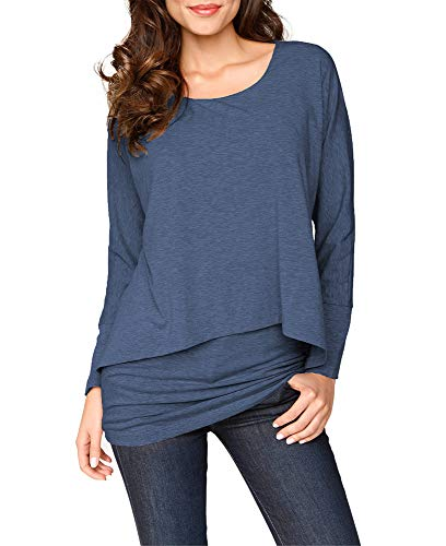 Upopby Women's Casual T-Shirt Long Sleeve Tunic Tops Batwing Layered Round Neck Loose Blouse Plus Size Jean Blue XL