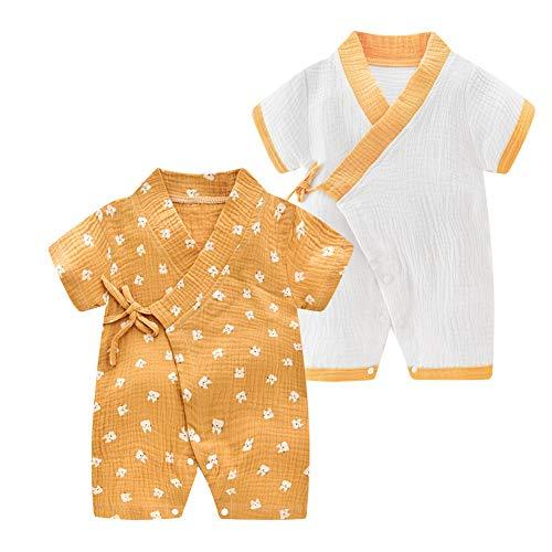 JooNeng Newborn Baby 2-Pack Cotton Kimono Robe Romper One Piece Toddler Unisex Cute Short Sleeves Onesie Pajamas Sets,Yellow - Cotton Classic Onesie