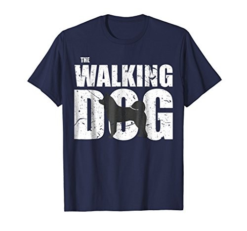 Mens The Walking Akita Dog Dark Version Funny Cute T-shirt 3XL Navy