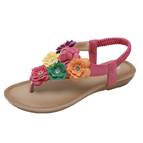 Orangeskycn Women Sandals Plus Size Ethnic Fashion Bohemian Flowers Flats Sandals Comfortable Pinch Beach Shoes -