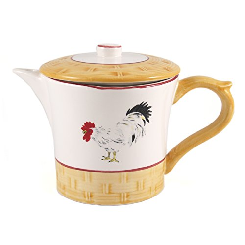 Country Rooster Teapot - White Ceramic French Country Rooster Teapot