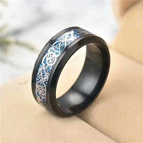 Homeofying 8MM Fashion Unisex Dual Color Thin Line-Inside Brushed Band Finger Ring Jewelry US Blue 10