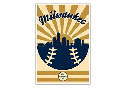 - ArtsyCanvas Milwaukee Brewers Vintage Baseball Poster (12x18)