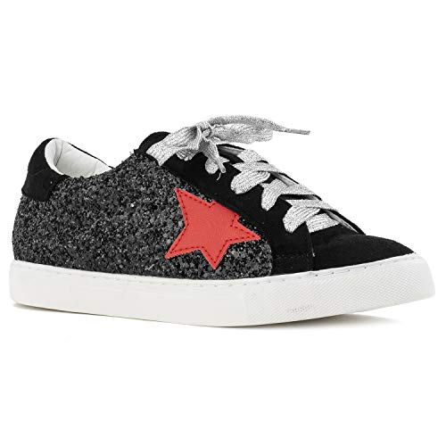 Women's Casual Low Top Trendy Fashion Sneakers Flats Black Size.6.5