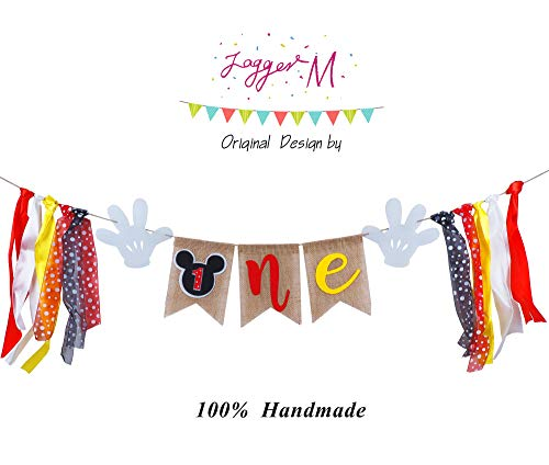 Mickey Mouse 1st Birthday Banner, Handmade First Birthday Highchair Banner mickey mouse photo props Party Decorations Supplies -