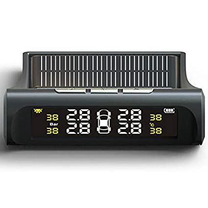 XZANTE Sistema de Alarma Monitor de presion de neumaticos del Coche inalambrico TPMS de Coche de energia Solar Pantalla LCD