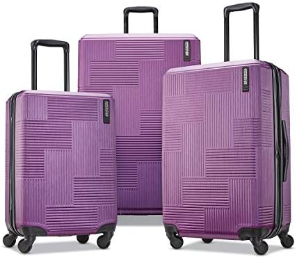 American Tourister Stratum XLT Expandable Hardside Luggage with Spinner Wheels, Power Plum, Checked-Medium 25-Inch