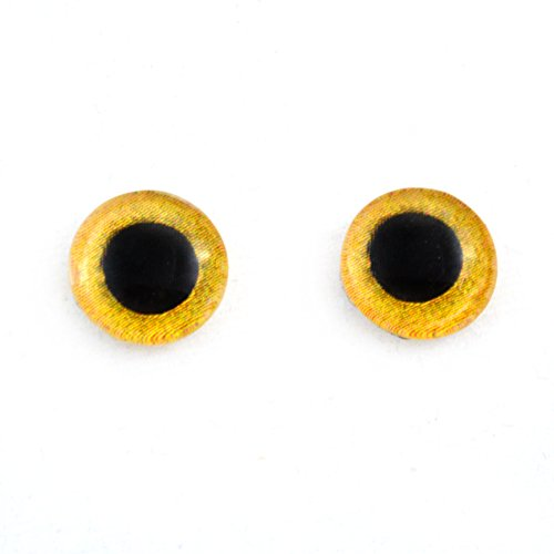 10mm Yellow Owl Glass Eyes Doll Irises for Art Polymer Clay Taxidermy Sculptures or Jewelry Making Set of 2 from Megan's Beaded Designs