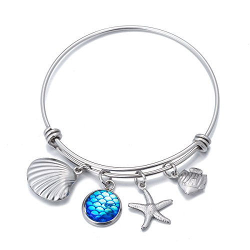 Beach Lover Gifts Bangle Mermaid Scales Shell Charms Bracelet Jewelry for Women