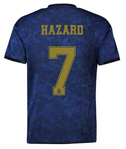 Real Madrid Hazard # 7 Soccer Jersey 2019-2020 Away Mens Jersey Blue (M)
