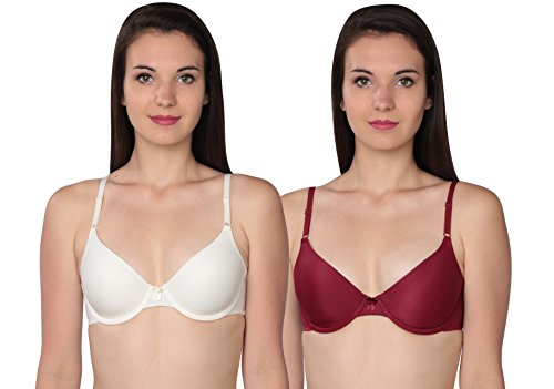 Maidenform One Fabulous Fit Tailored T-Shirt Bra (2 Pack), Tibetan Red & Ivory, 36B
