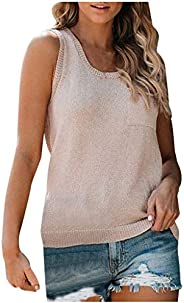 Womens Summer Knit Pocket Button Casual Loose Sleeveless Vest Tank Tops