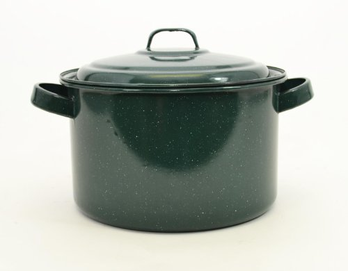 Enamelware Stock Pot w/Lid-5 3/4 Quart, 5.5H x 9D, Hunter Green w/ White Specks