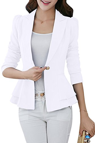 [YMING for Women Classic One Button Long Sleeve Blazer White L] (Miami Vice Outfits)
