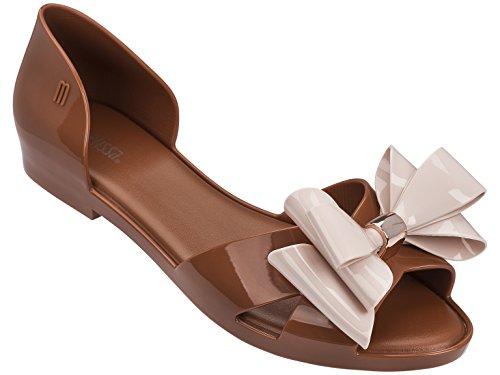 Peep Toe Flats Da Donna Marrone Chiaro Rosa Chiaro
