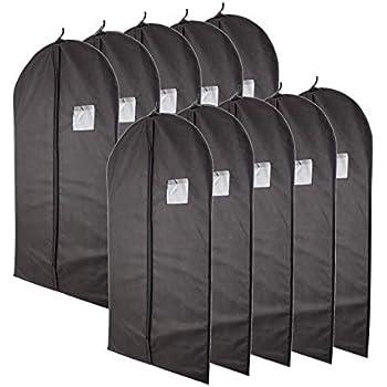 "f32cca528d9 Plixio 40"" Black Garment Bags for Clothing Storage of Suits, Dresses &  Dance Costumes—Includes Zipper & Transparent Window (10 Pack)"