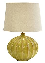 Urban Shop Reactine Glaze Lamp with Faux Linen Shade, Olive