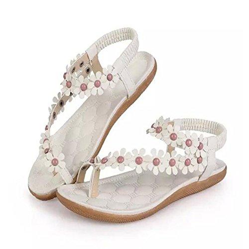 de planas GAOLIXIA Beige Blanco de Verano Zapatos dulce estudiante antideslizantes Sandalias Sandalias Sandalias de Nuevo Clip flor mujer playa Blanco wTq7z
