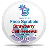 Diva Stuff Face Scrubbie Strawberry Cell Renewal | Anti-Acne & Anti-Aging | Exfoliating Pads That Fight Acne, Clear Pores & Activate Cell Regeneration | Strawberry, Coconut Oil, Aloe, Meadowfoam Oil