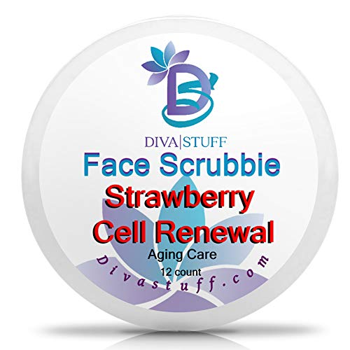 (Diva Stuff Face Scrubbie Strawberry Cell Renewal | Anti-Acne & Anti-Aging | Exfoliating Pads That Fight Acne, Clear Pores & Activate Cell Regeneration | Strawberry, Coconut Oil, Aloe, Meadowfoam Oil)