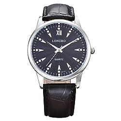 LONGBO Luxury Men's Black Croco Leather Band Analog Quartz Business Watch Silver Case Couple Dress Watch Luminous Rhinestone Crystal Accented Black Dial Wristwatch For Man