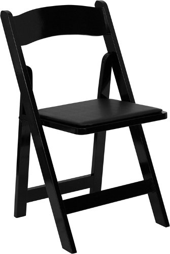 HERCULES Series Natural Wood Folding Chair with Vinyl Padded Seat Black/Black