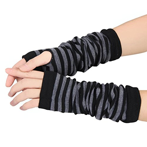 Gloves,toraway Winter Warmer Knitted Strip Long Fingerless Gloves (Black)