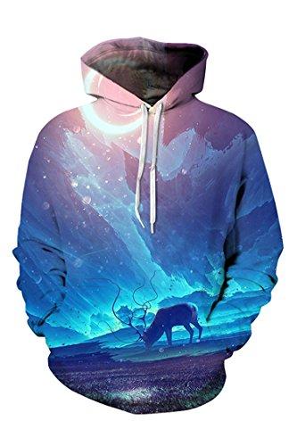 PinkWind Unisex Deer Print Comfortable Stylish Pocket Hooded Sweatshirt Hoody XXL -