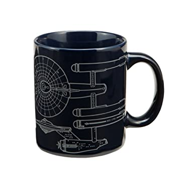 Vandor 80062 Star Trek Enterprise 12 oz Ceramic Mug, Blue