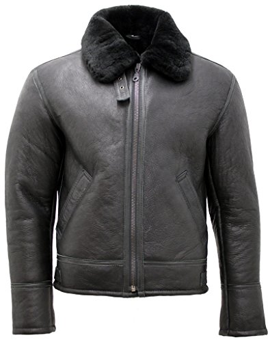 Men's Black 'Air Force' Real Shearling Sheepskin Fur Flying Leather Jacket ()