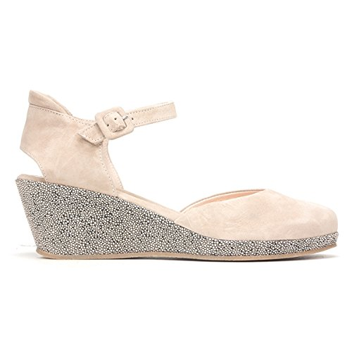 Beautifeel Mujeres Piper Wedge Sandal Champagne / Dragonfly Suede