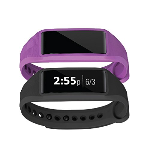 Striiv Fusion Bio 2: Activity Tracker, Smartwatch, Heart Rate Monitor (2 Pack), Black/Purple
