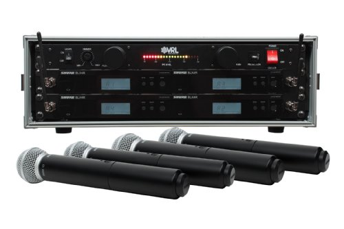 Shure BLX24R/SM58 4 Pack Wireless Handheld Mic System with VRL Power Supply ()