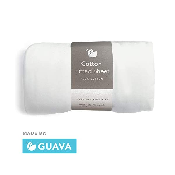 GUAVA FAMILY – Lotus Crib 100% Cotton Fitted Sheet | Perfect, Manufacturer-Approved Fit, Soft & Safe for Infants, Baby and Toddlers, Unisex, Boys & Girls – Fits Both Velcro & Buckle Versions (White)