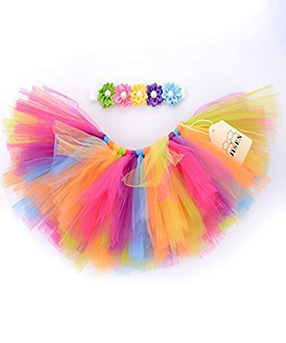 JISEN Baby Newborn Photography Prop Baby Girl Infant Lovely Costume TuTu Dress with Flower Headband 0-3 Months(Rainbow 1)