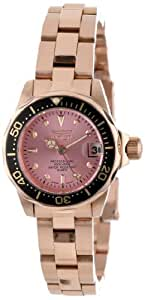 Invicta Women's 14100 Pro Diver Pink Dial 18k Rose Gold Ion-Plated Stainless Steel Watch