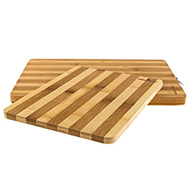 Beautiful Bamboo Wood Cutting Board & Serving Platter Set: Thick & Durable 2-Piece Wooden Bread Boards/Cheese Plates- Give as a Wedding Present