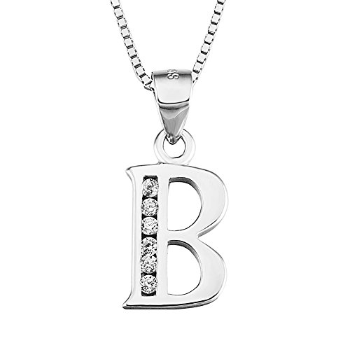 YFN Initial B Pendant Necklace in Sterling Silver with Cubic Zirconial 26 Letter Alphabet Jewelry for Women Teen Girl