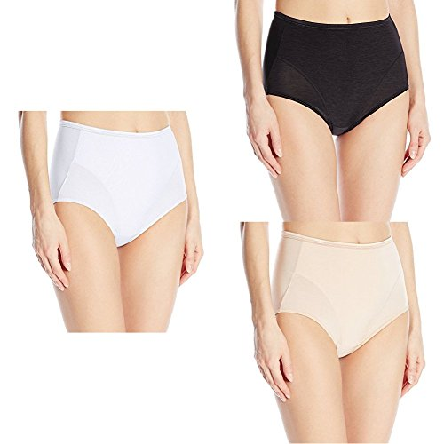Vanity Fair Women's Smoothing Comfort illumination Brief Panty 13263, Star White/Midnight Black/Rose Beige, (Lined Spandex Briefs)