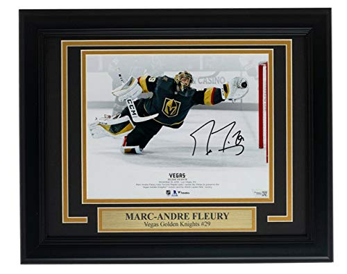 Signed Marc-Andre Fleury Photo - Framed 8x10 Diving Save Fanatics - Fanatics Authentic Certified - Autographed NHL Photos